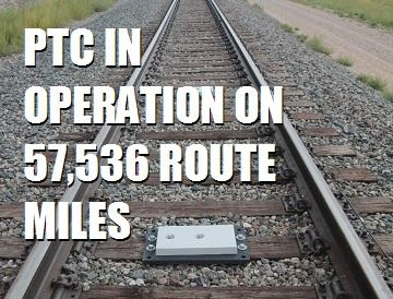 PTC in operation on 57,536 route miles